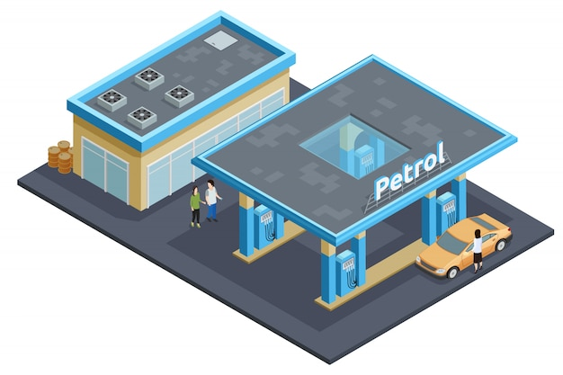 Gas petrol motorway filling service station Free Vector