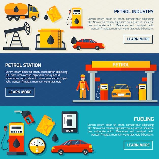 Gas petrol station flat banners set Free Vector
