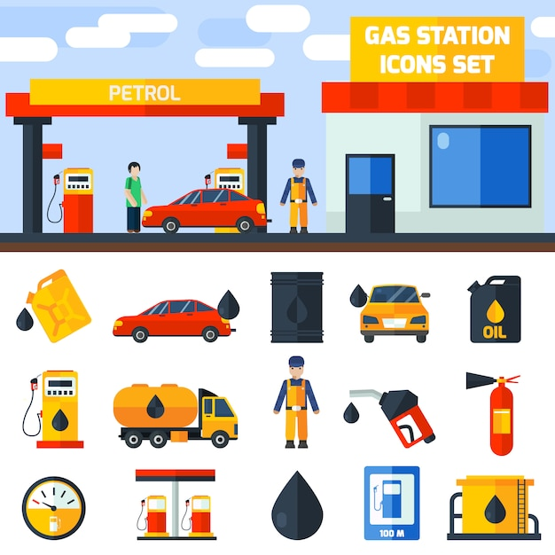 Gas petrol station icons collection banner Free Vector