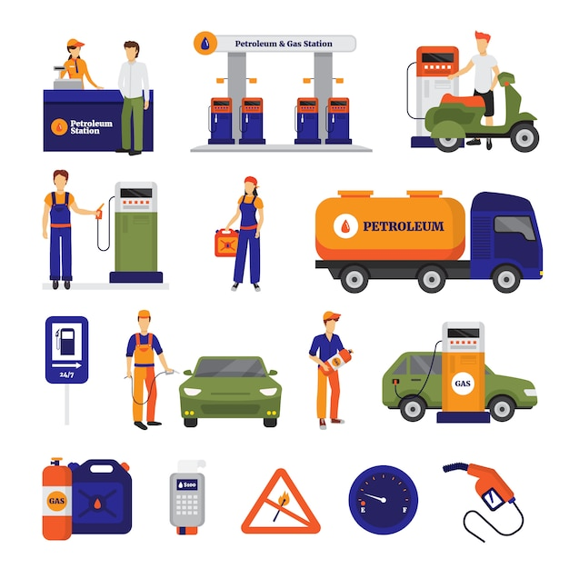 Gas and petrol station icons set with people Free Vector