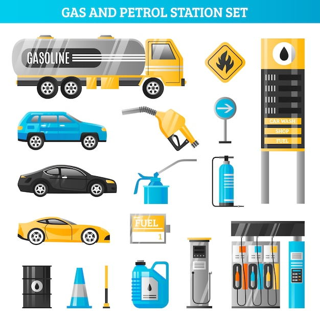 Gas and petrol station set Free Vector