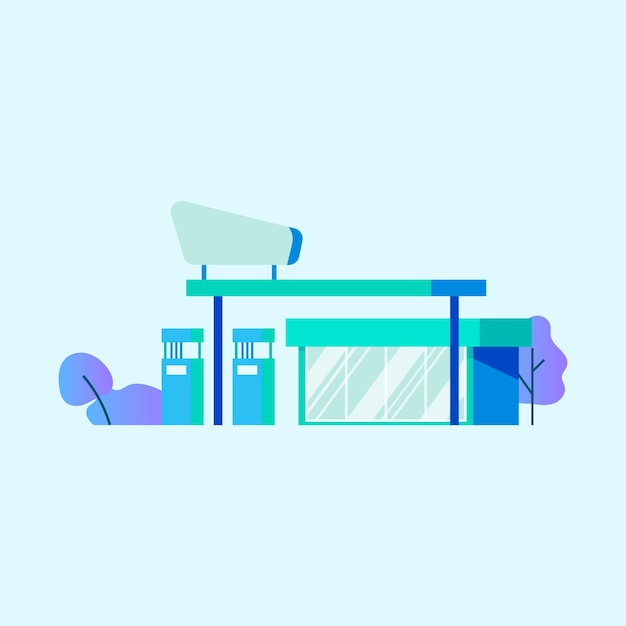 Gas or petrol station vector Free Vector