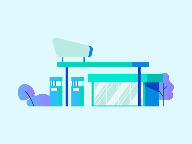 Gas or petrol station Free Vector