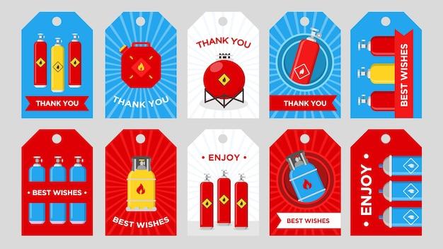 Tag della società di produzione di gas impostati. bombole, serbatoi e taniche con illustrazioni vettoriali di segno infiammabile con testo di ringraziamento o auguri. modelli per biglietti di auguri o cartoline Vettore gratuito