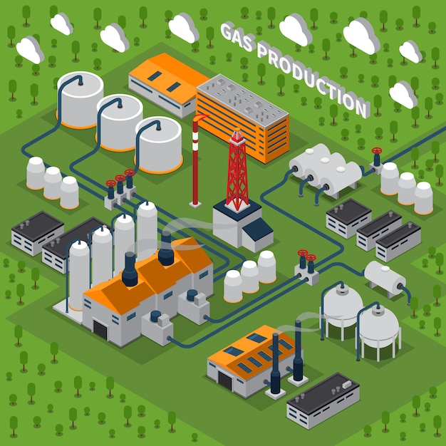 Gas production isometric illustration Free Vector