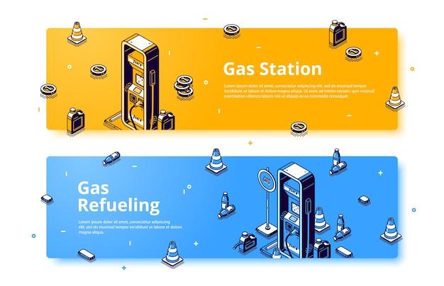 가스 주유소 아이소 메트릭 웹 배너, 석유 연료 공급 서비스, 휘발유, 디젤 또는 석유 자동차가 권총, 호스, 트래픽 콘 및 용기로 채워집니다. 3d 벡터 라인 아트 배너 무료 벡터