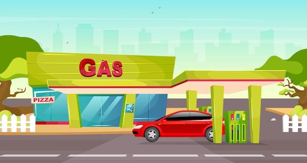 ガソリンスタンドのカラーイラスト。車両用ガソリンポンプ。オーバードライブでの輸送用のガソリン補充。自動車燃料サービス。背景に赤い車でかわいい漫画の街並み Premiumベクター