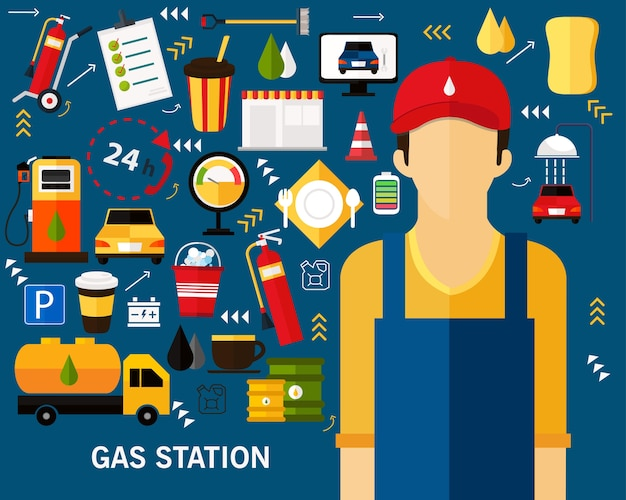 Gas station concept background. flat icons. Premium Vector