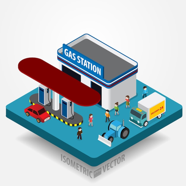 Gas station concept Premium Vector