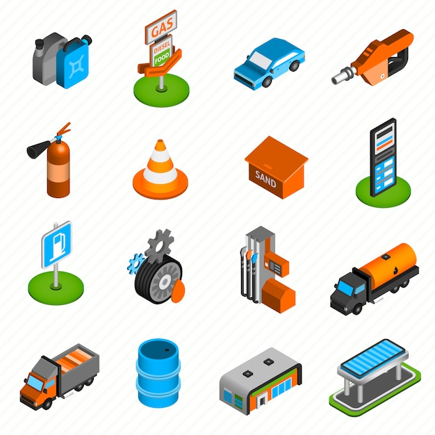 Gas station elements isometric icons Free Vector