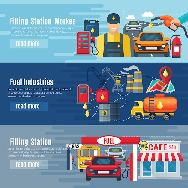 Gas station horizontal banners set with fuel industries symbols Free Vector