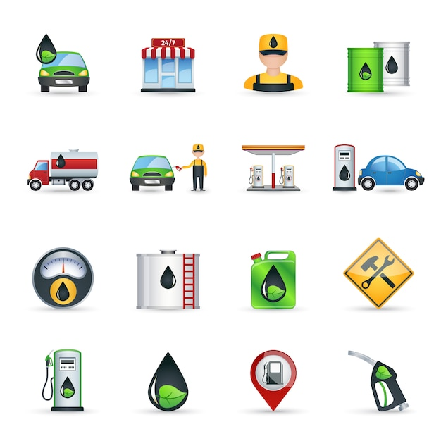 Gas station icons set Free Vector