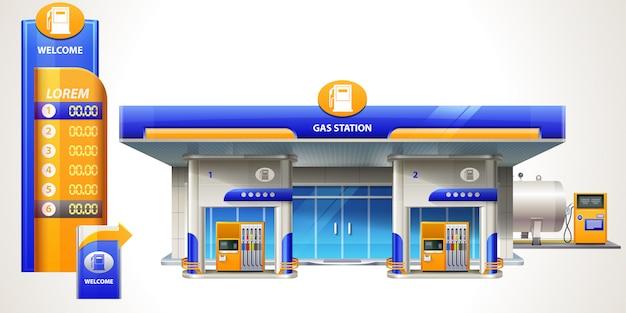 Gas station illustration Premium Vector