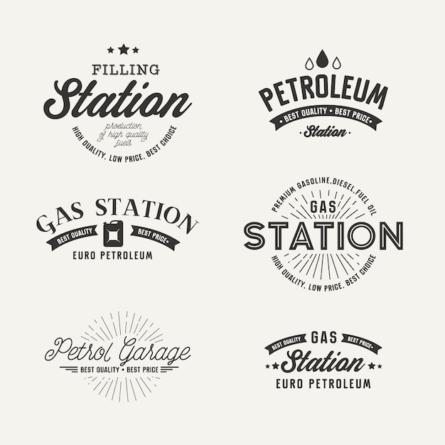 Gas station label set on the gray background Free Vector