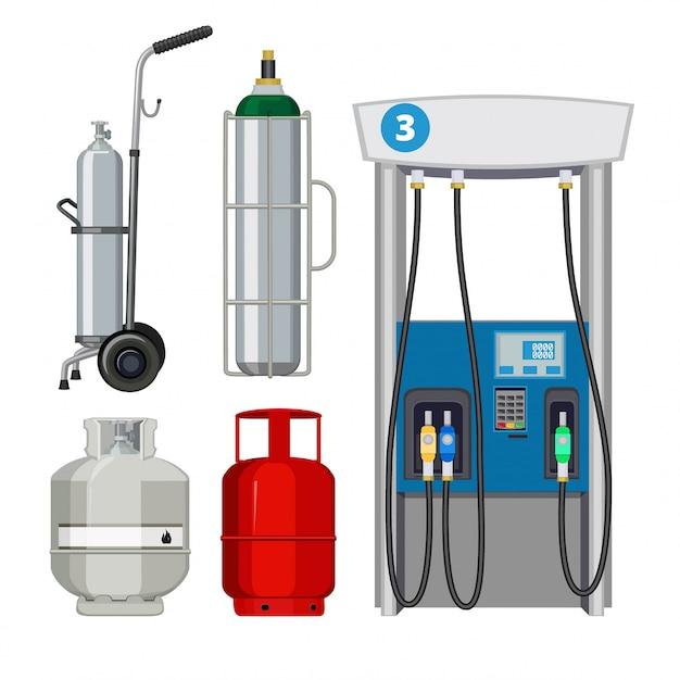 Gas station. pumping petrol types metal tank cylinders  s of petrol pumps Premium Vector