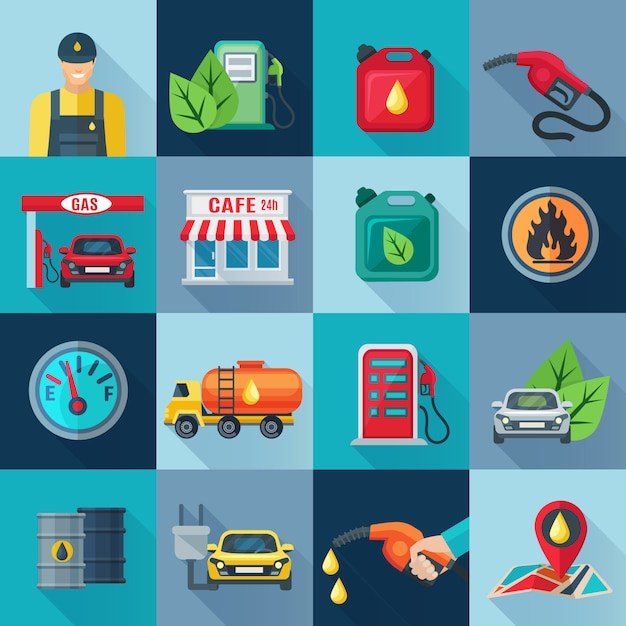 Gas station square icons set with fuel and and oil industries symbols shadow Free Vector