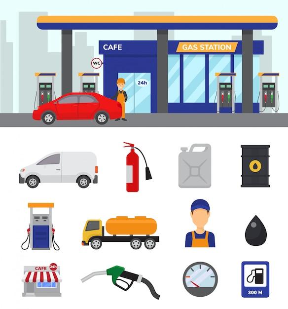 ガソリンスタンドベクトルガソリン燃料またはガソリンとディーゼル車の図解 Premiumベクター