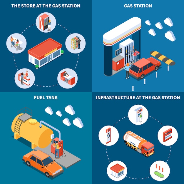 Gas station with infrastructure objects including fuel tank and store isometric design concept isolated vector illustration Free Vector