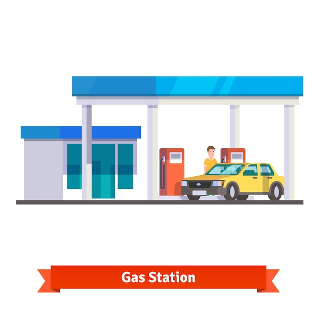 Gas station with man fuelling car Free Vector
