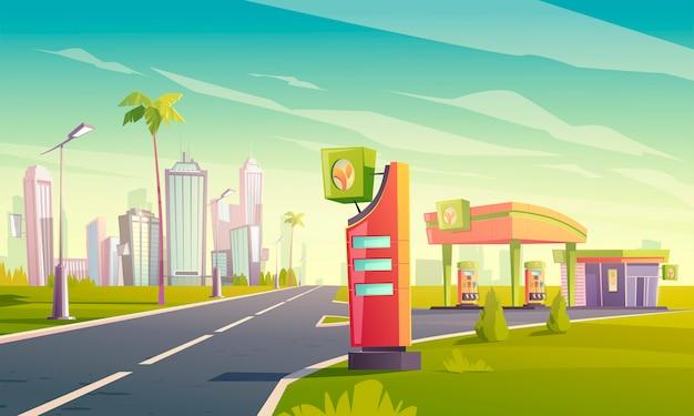 油ポンプと道路上の市場のガソリンスタンド 無料ベクター