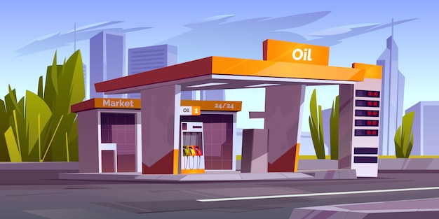 Gas station with oil pump and market in city Free Vector