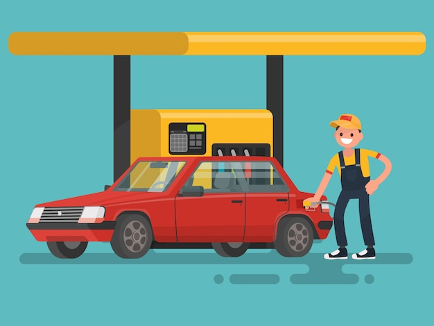 ガソリンスタンド。作業員がガソリンを車に充填します。 Premiumベクター