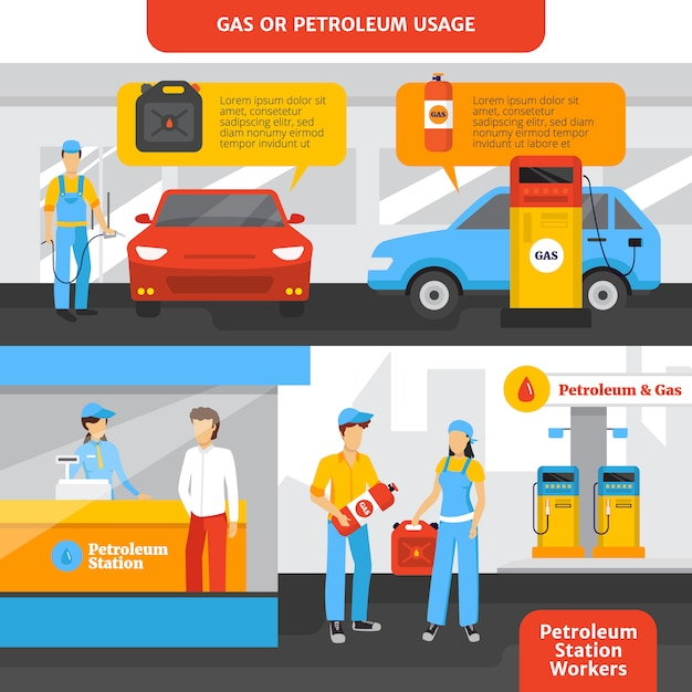 Gas station workers horizontal banners set with people and cars Free Vector