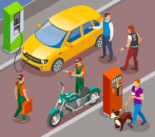 Gas stations refills isometric composition with gasoline filling columns for cars and motorbikes with people characters Free Vector
