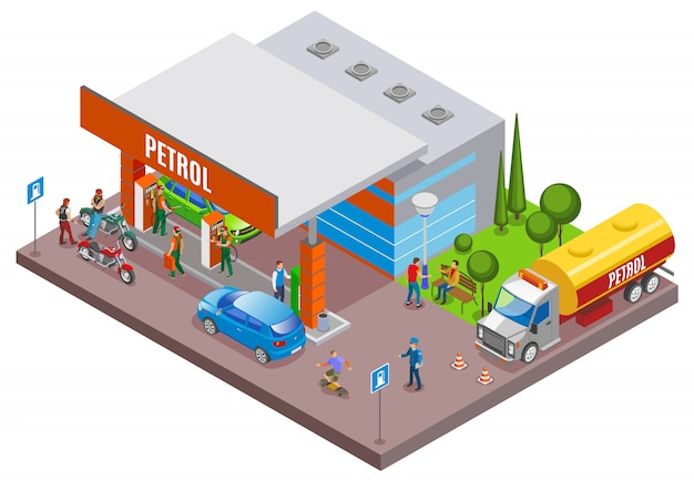 Gas stations refills isometric composition with urban scenery and petrol filling station with people and cars Free Vector
