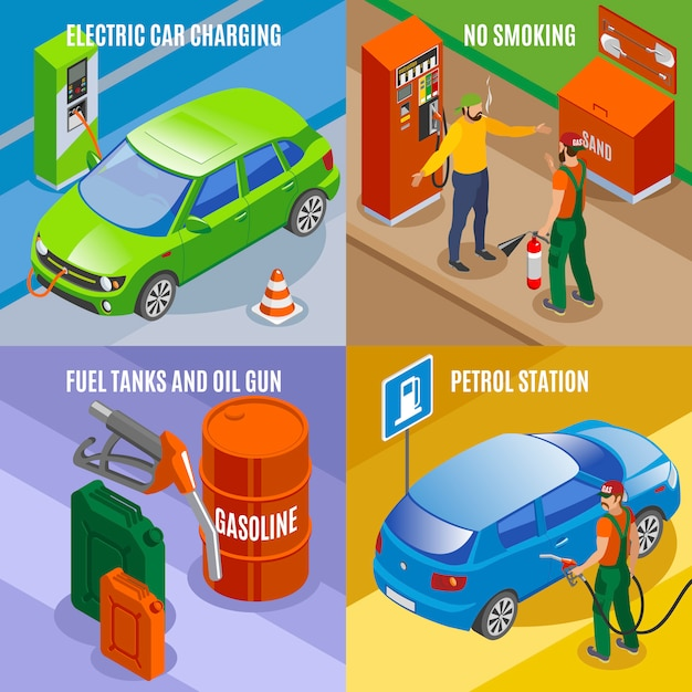 Gas stations refills isometric concept with compositions of car images fuel tanks and text Free Vector