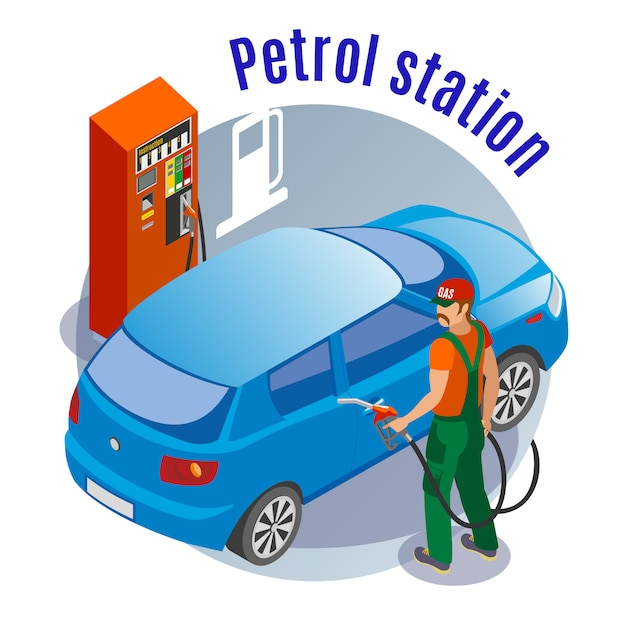 Gas stations refills isometric illustration with images of fuel filling column car fuelman character and text Free Vector