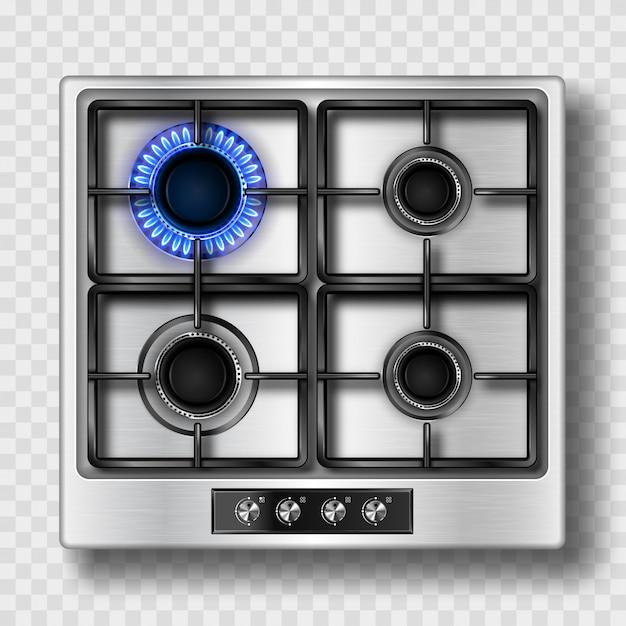 Вид сверху газовой плиты с синим пламенем и стальной решеткой Бесплатные векторы