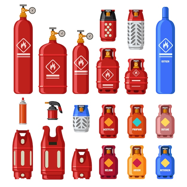 Gas tank. gaz cylinders with acetylene, propane or butane. petroleum fuel in safety cylinder. helium in metal tank isolated vector set Premium Vector