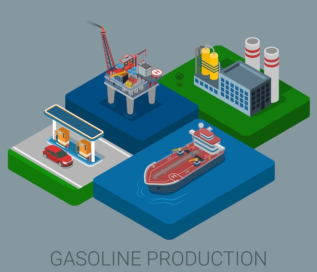 Gasoline production process cycle flat d web isometric infographic concept Free Vector