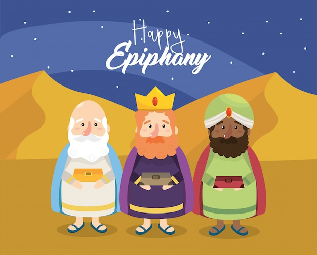 Gaspar with melchior and balthazar to happy epiphany Premium Vector