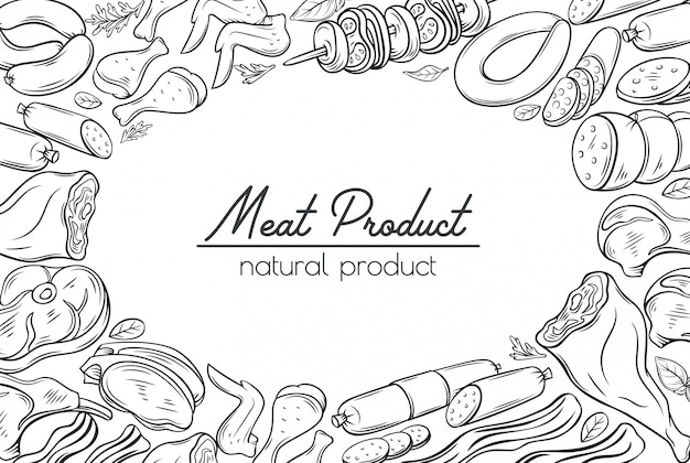 Gastronomic meat products sketches Premium Vector