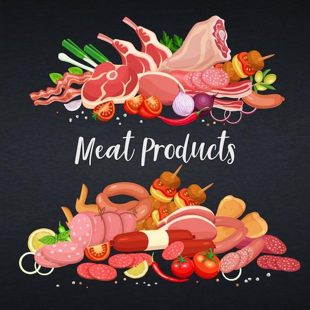 Шаблон баннеров для гастрономических мясных продуктов с овощами и специями для производства мясных продуктов, брошюр, баннеров, меню и дизайна рынка. иллюстрация. Premium векторы