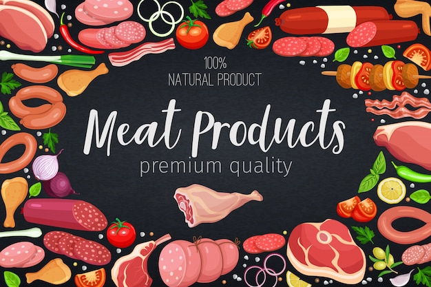 Шаблон плаката «гастрономические мясные продукты с овощами и специями» для производства мяса, брошюр, баннеров, меню и дизайна рынка. иллюстрация. Premium векторы