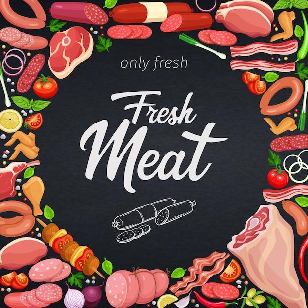 Гастрономические мясные продукты Premium векторы