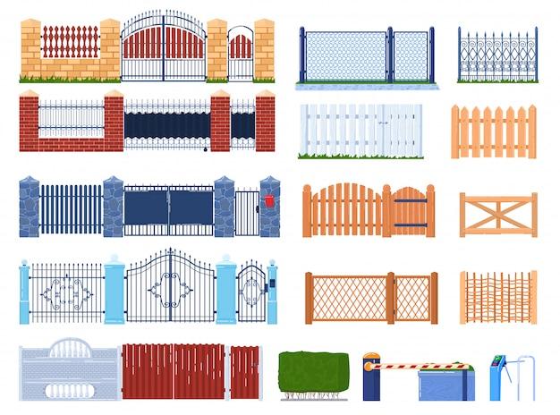 ゲートとフェンスのイラストセット、フェンスで囲まれた庭の家と農場、門柱の漫画の木または石レンガ構造のコレクション Premiumベクター