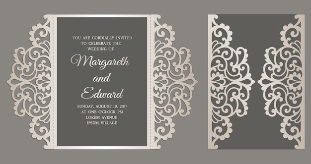 Gate fold laser cut wedding invitation card template. template for cutting. design for laser cut or