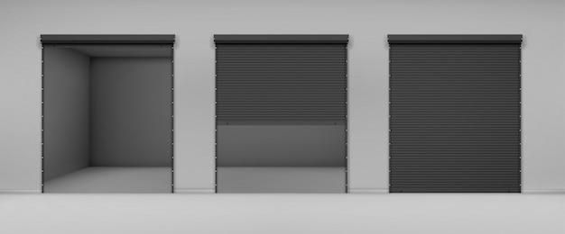 회색 벽에 검은 롤링 셔터 게이트 무료 벡터