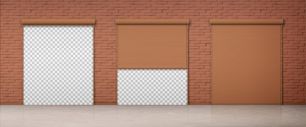 Gate with brown rolling shutter in brick wall Free Vector
