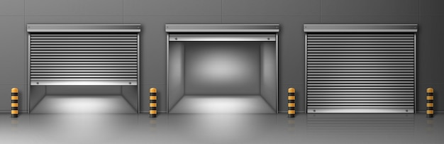 Gate with metal rolling shutter in gray wall. vector realistic illustration of hallway Free Vector