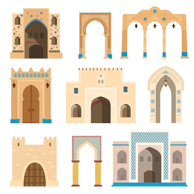 Gates and archs decorated with mosaics, lanterns, columns. Premium Vector