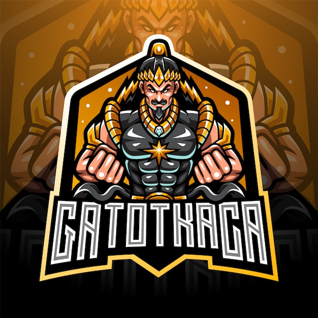 Gatotkaca esport талисман дизайн логотипа Premium векторы