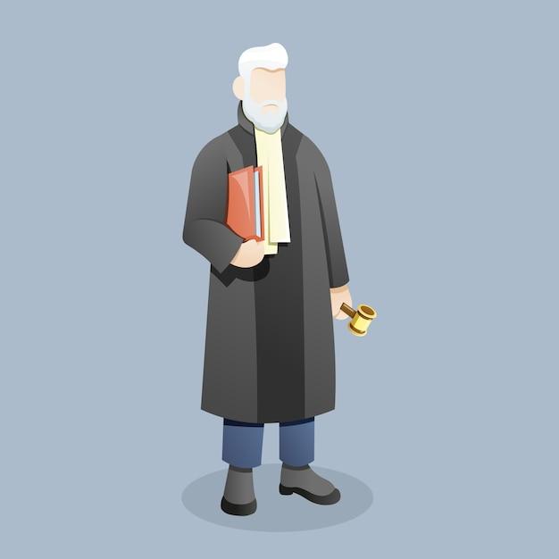 裁判官または弁護士が小gaveを持った書類を運ぶ Premiumベクター