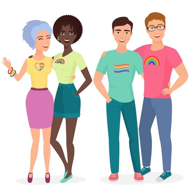 Молодые геи и лесбиянки пары вместе Premium векторы