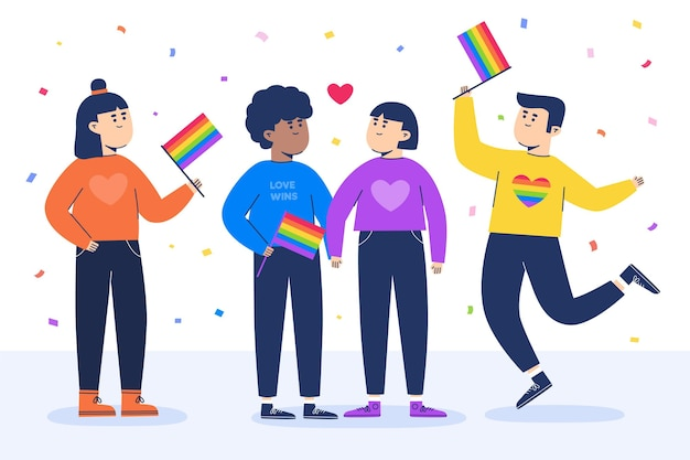 Gay people with flags and confetti Free Vector