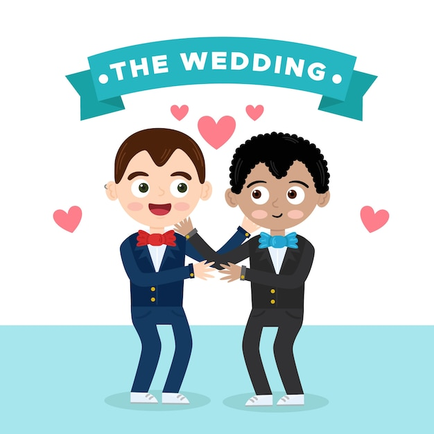 Gay wedding couple in flat design Free Vector